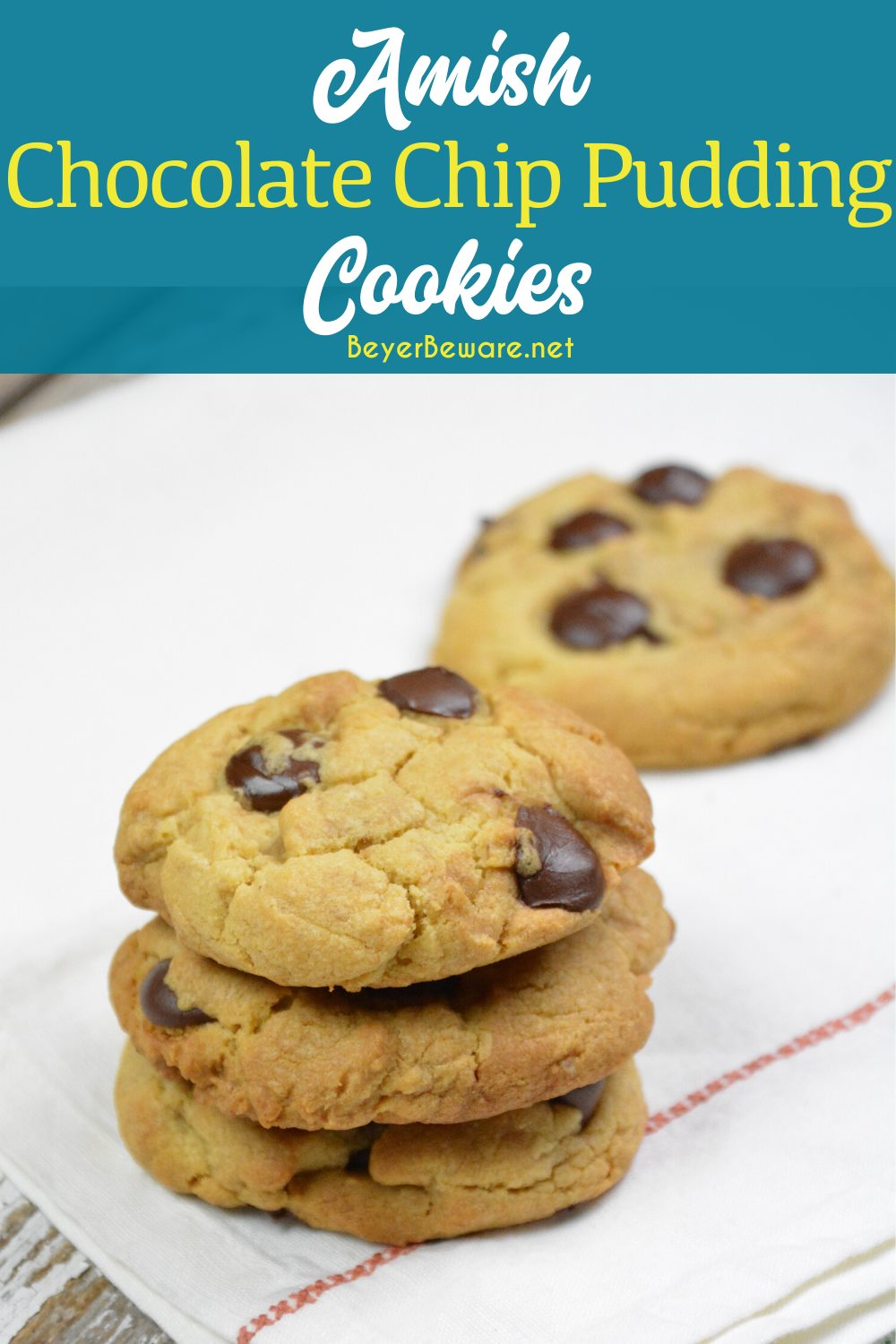 Amish chocolate chip pudding cookies combine traditional cookie ingredients with a unique combination of shortening, butter, and pudding to make these moist pudding cookies irresistible.