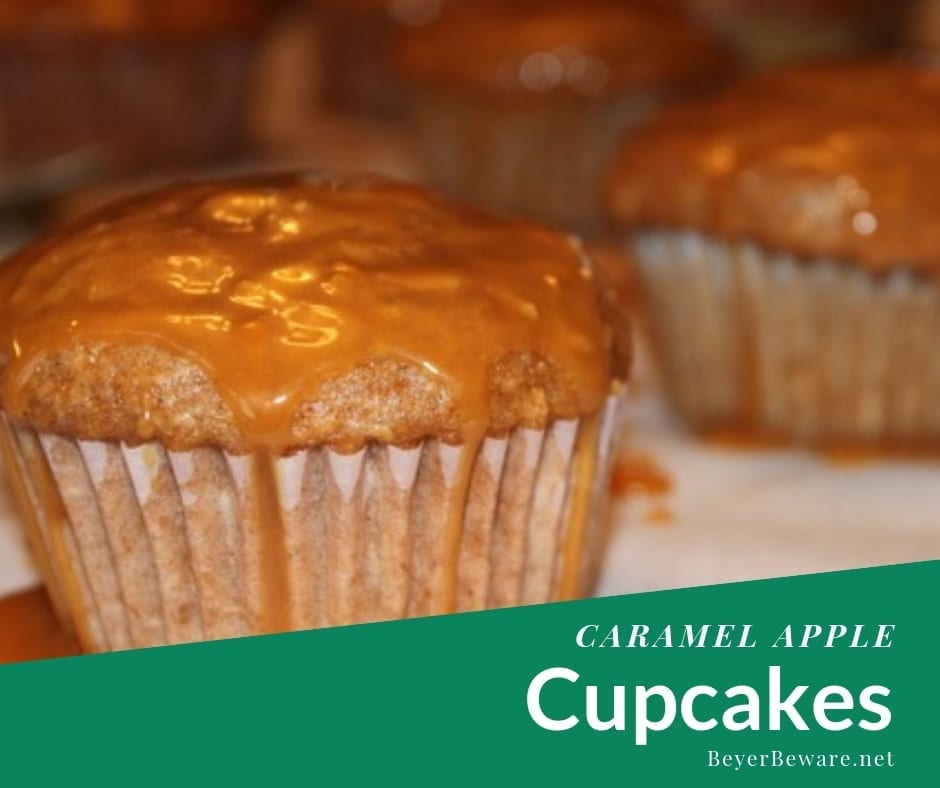 Caramel Apple Cupcakes recipe is a semi-homemade cupcake that combines a spice cake mix with fresh apple and a caramel topping for the cake version of caramel apple. #fallrecipes #AppleRecipes