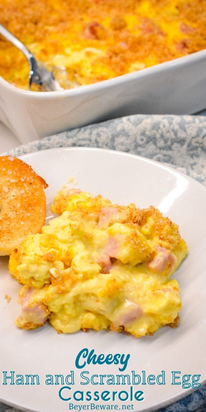 Cheesy ham and scrambled egg casserole recipe is a breadless egg and ham bake made the night before with scrambled eggs and a velvety cheese sauce and a bread crumb topping. This is a great recipe for Easter or Christmas Breakfast morning.