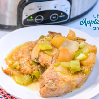 Crock pot apple pork chops is a flavorful crock pot pork chop recipe with lots of apples, onions, celery and cornbread stuffing.