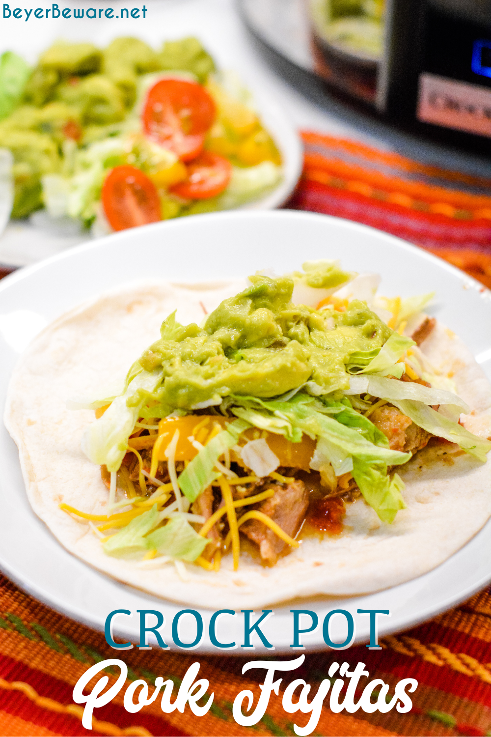 Crock Pot Pork Fajitas recipe is easy to make in a slow cooker along with a pork loin roast, can of Rotel, fajita seasonings, onions and peppers slow cooked all day for an easy weeknight dinner or Taco Tuesday.