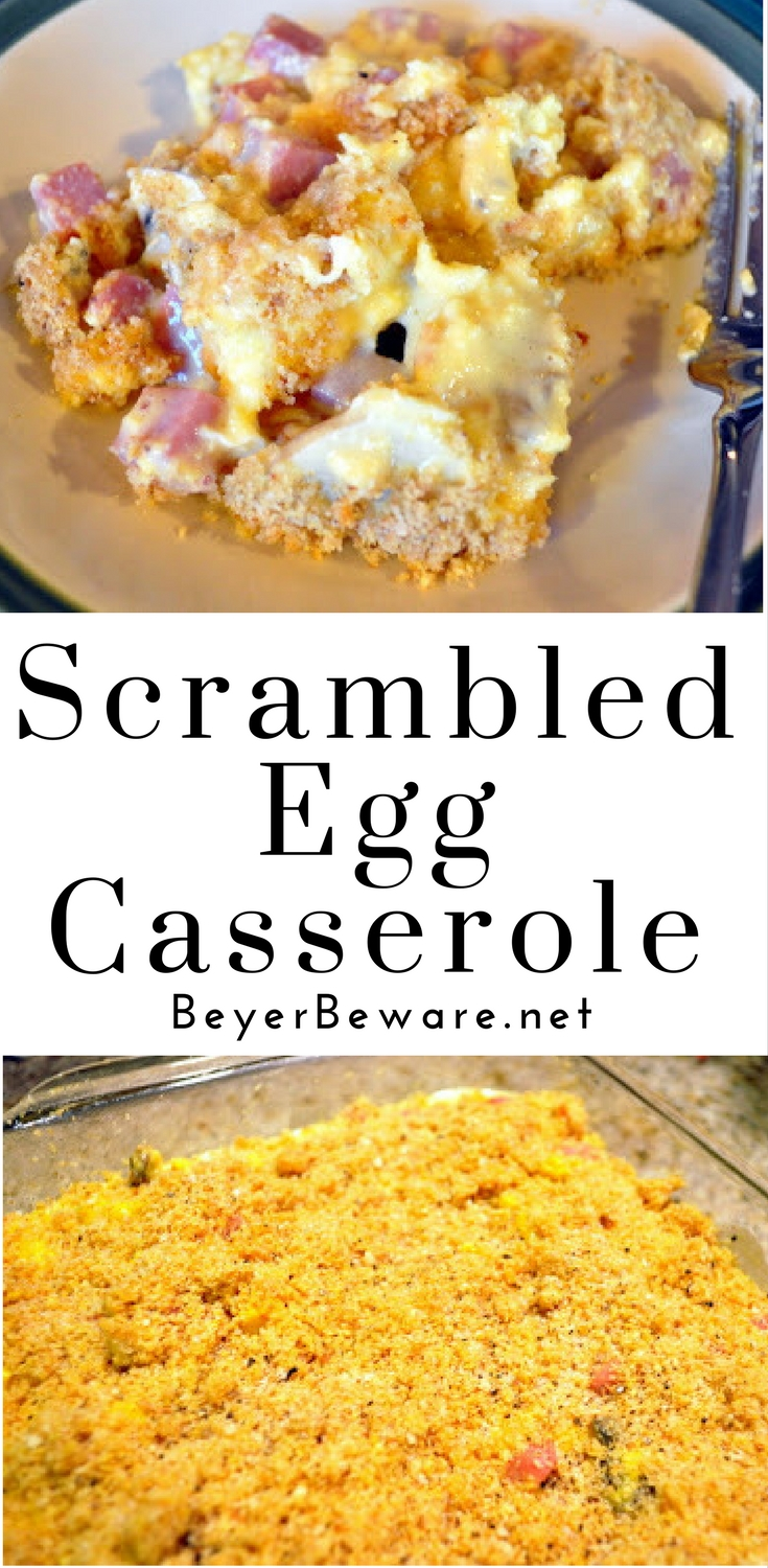 This simple scrambled egg casserole is a creamy, cheesy egg casserole for a change from a traditional bread or potato breakfast casserole recipe.