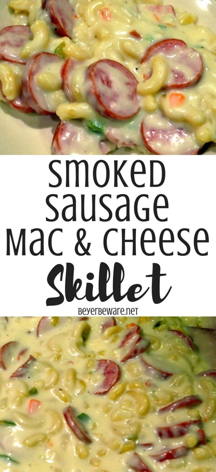 This creamy recipe for smoked sausage mac and cheese is a one pot meal that is ready in less than 30 minutes for a hearty weeknight meal.