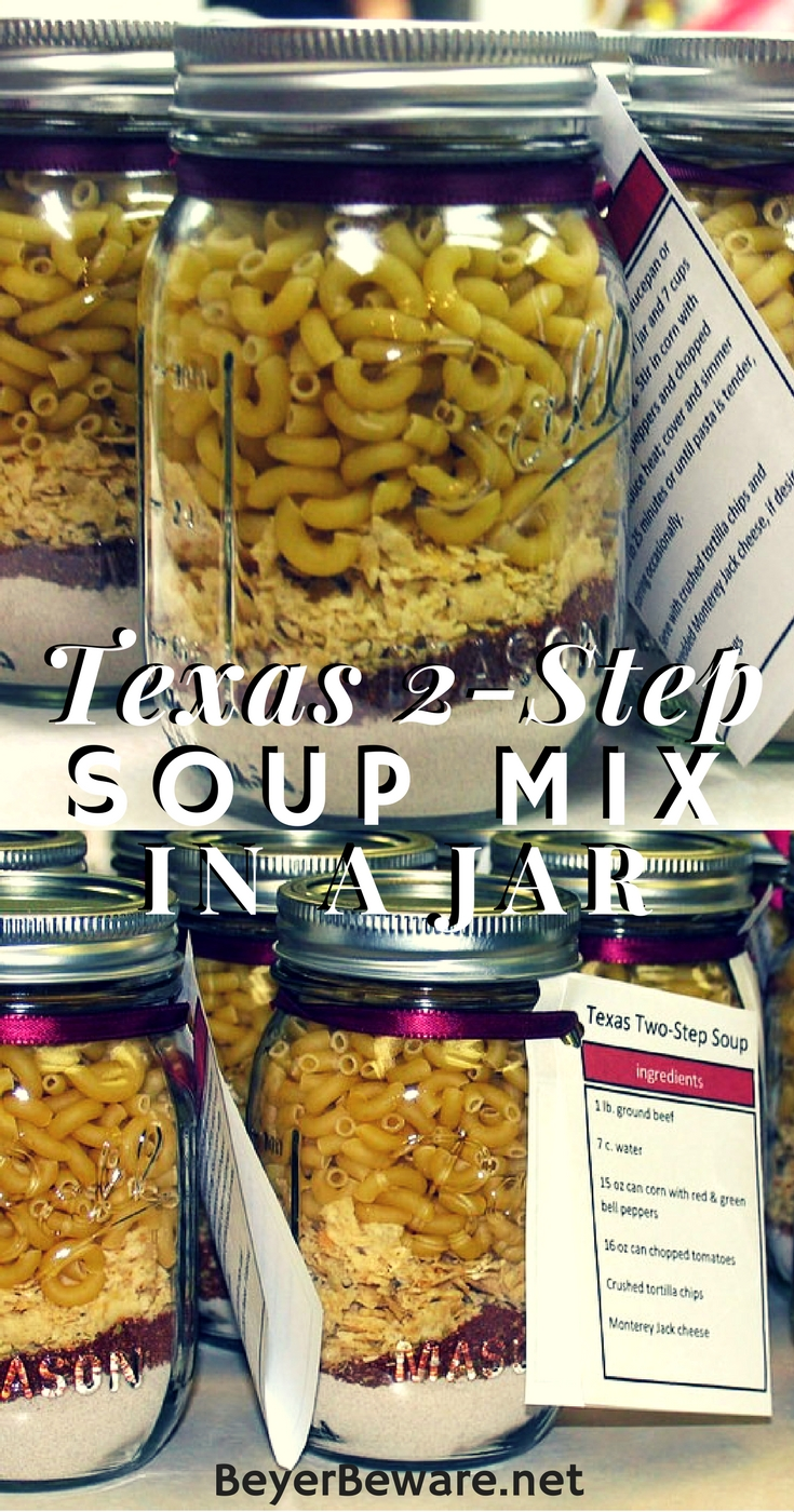 This Texas 2-step soup mix in a jar recipe is easy to put together and will store for quick weeknight meals or be a perfect mason jar edible gift.
