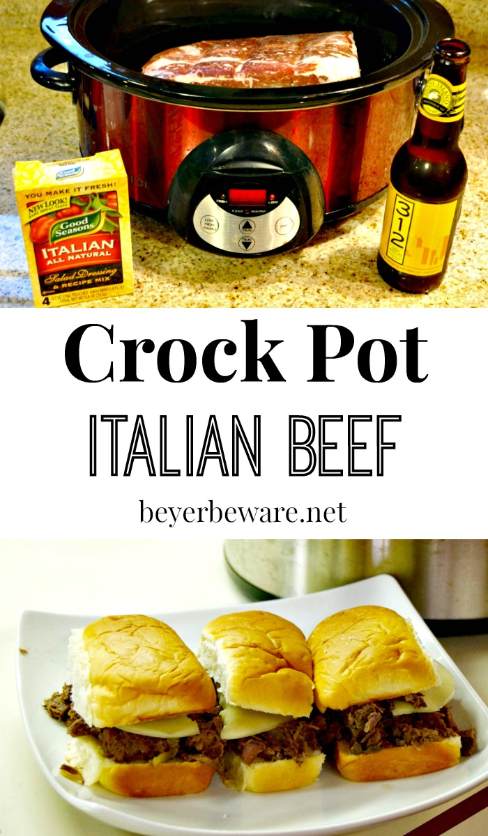 My go-to meal during a busy week is this Crock Pot Italian Beef recipe. Everyone loves Italian beef sandwiches and even eat leftovers during the week.