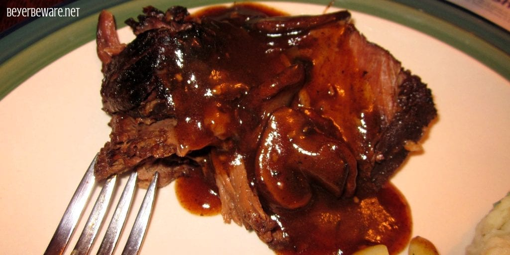 Crock Pot Coffee Beef Roast combines coffee, mushroom, onions, garlic to create a rich and flavorful sauce for a beef roast to slow cook in all day creating a tender and juicy crock pot roast. #CrockPot #Roast #Beef #BeefRoast