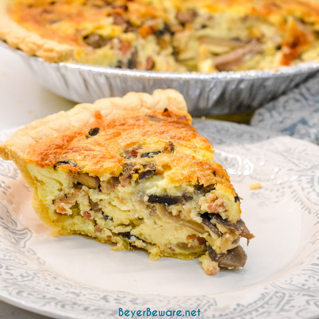 Bacon and mushroom quiche is an easy quiche recipe filled with crispy fried bacon pieces, hearty mushrooms, and lots of cheese.
