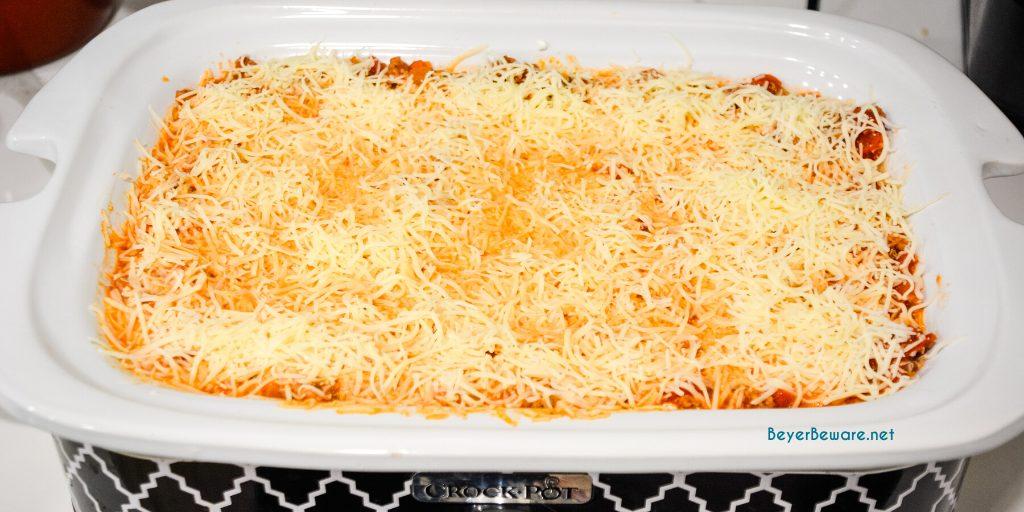 Crock pot lasagna is an easy lasagna recipe using no-boil or regular lasagna noodles that can slow cook in your casserole crock pot all day long.