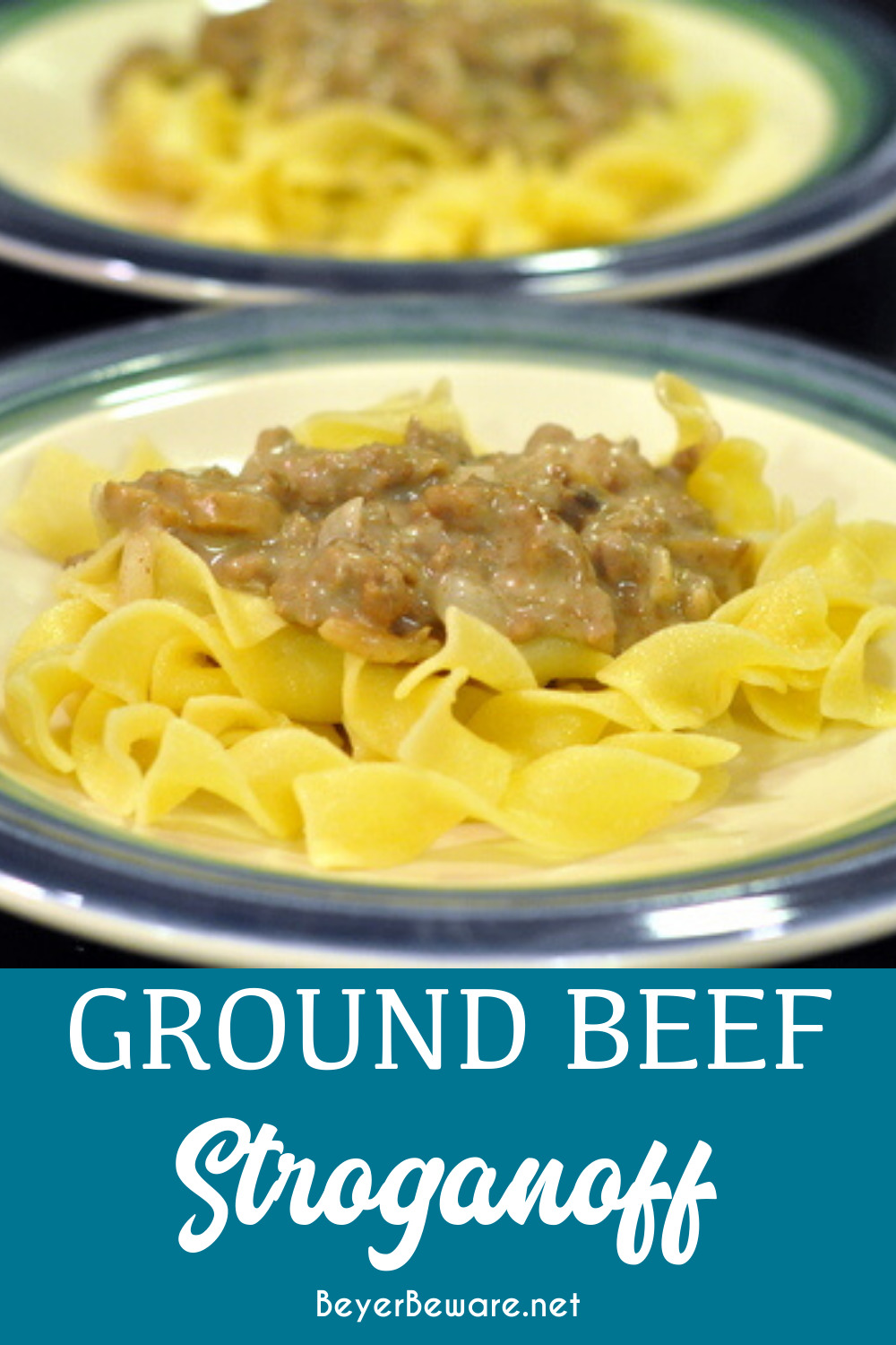 Ground beef stroganoff is a quick weeknight meal that uses ground beef combined with onions, mushrooms, cream of mushroom, and sour cream then served over noodles and rice.