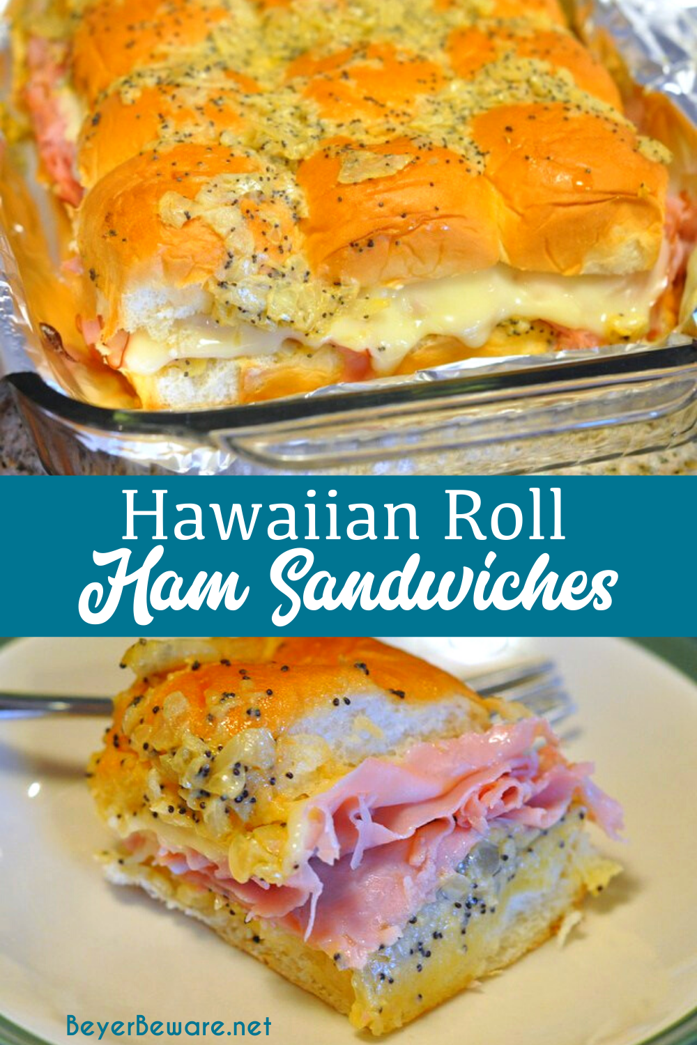 12 Hawaiian sweet rolls 1 onion minced or grated with food chopper 1 stick butter 3 tablespoons Dijon Mustard 2 teaspoons Worcestershire sauce 3 teaspoons poppy seeds 1/2 pound deli ham 8 slices Swiss cheese