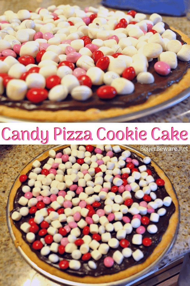 This candy pizza which is simply a cookie cake loaded with candy is the perfect valentine's day treat. It is made with a sugar cookie dough crust was so much fun to make and eat. #ValentinesDay #CookieCake #CandyPizza #DessertPizza