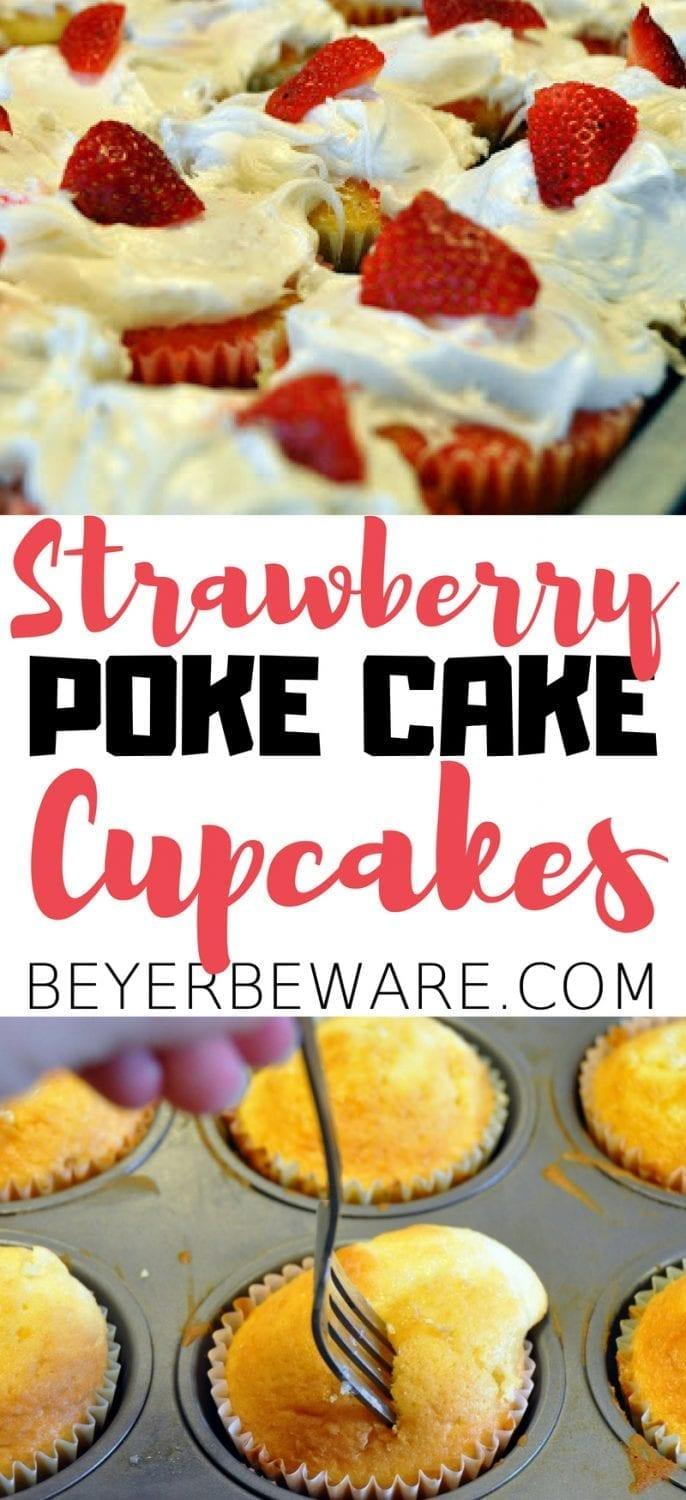 Just like a good poke cake, these strawberry poke cake cupcakes are an easy dessert recipe made with your favorite cake mix, jello, fluffy icing, and strawberries.