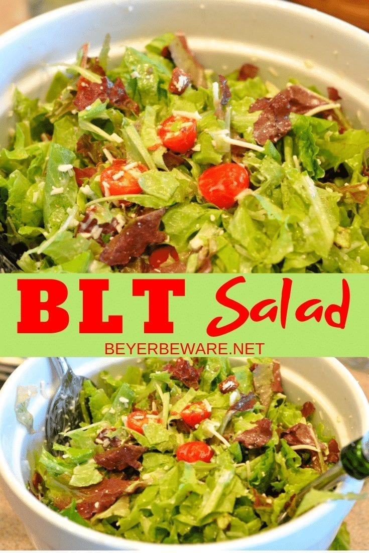 BLT salad is a simple salad recipecombining lettuce, tomatoes, bacon crumbles with a homemade creamy dressing and some shredded mozzarella cheese. #Bacon #Salad #BLT #SpringRecipes #Garden #GardenRecipes #LowCarb #Keto #KetoRecipes