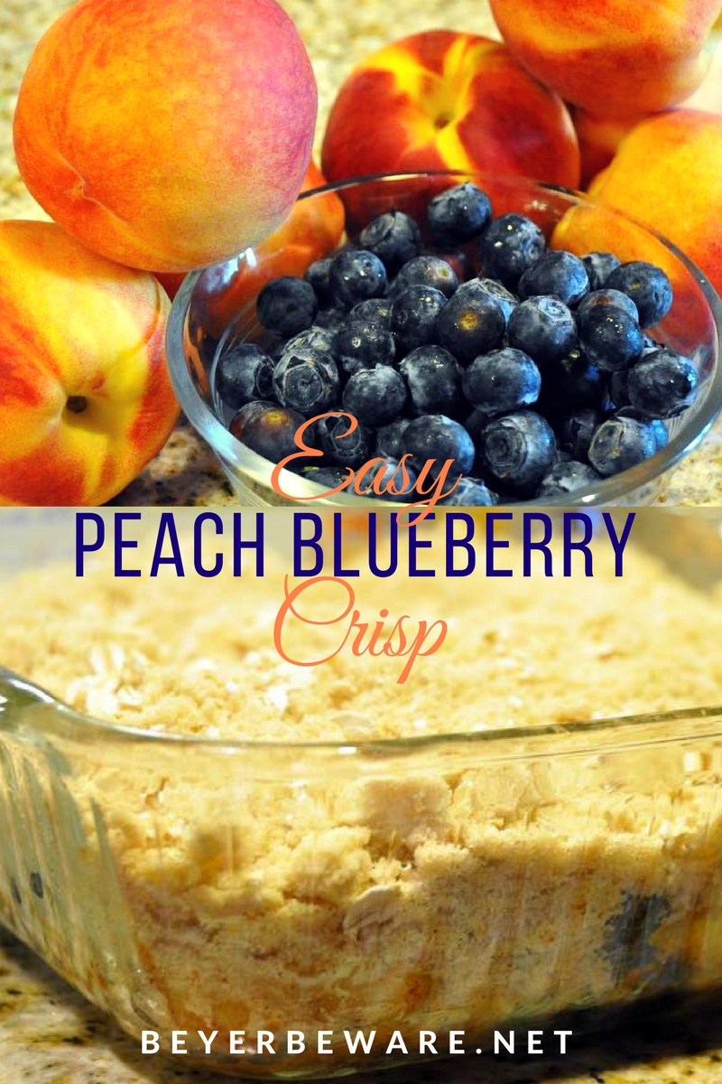 The combination of peaches and blueberry makes this easy peach blueberry crisp recipe topped with ice cream a perfect summer dessert.