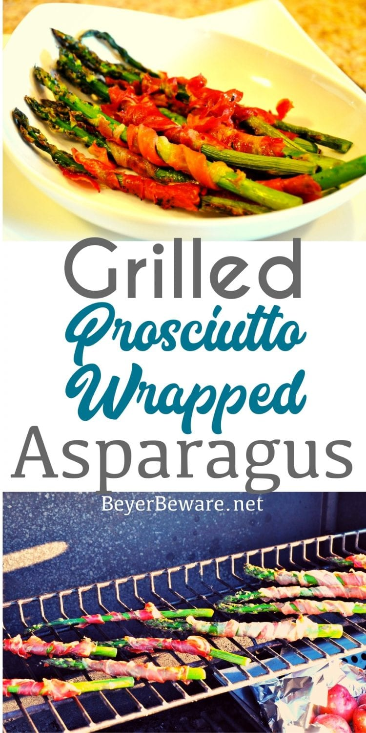 Simple ingredients make the best food and thinly sliced prosciutto wrapped around asparagus make the perfect side dish any time of year, but straight from the grill makes slightly smoky flavored grilled prosciutto-wrapped asparagus.