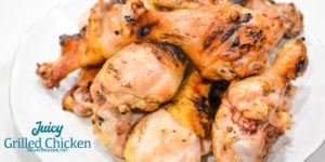 Juicy grilled BBQ chicken is easily done with this simple brine recipe and chicken seasoned with your favorite barbeque seasoning then grilled to perfection.