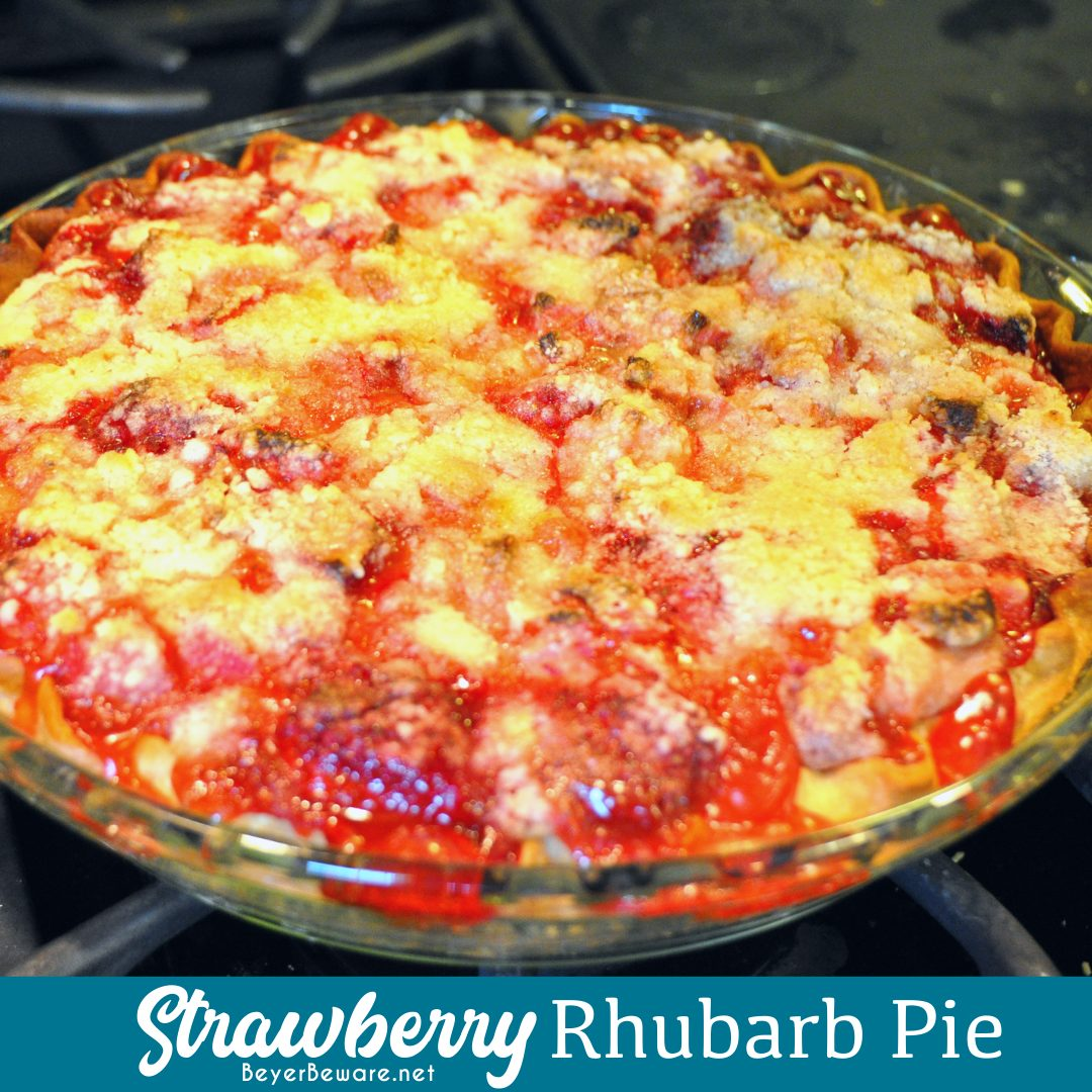 Strawberry rhubarb pie is a phenomenon in the spring and early summer in the midwest and this crumb topped version of the sweet and tart pie is so easy to make.