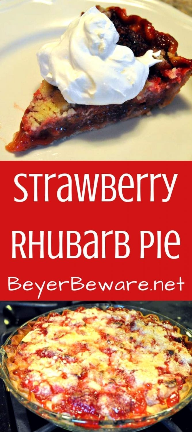 Strawberry Rhubarb Pie is the sweet and tart combination of fresh rhubarb and strawberries with a flaky pie crust and a butter crumb topping pairs perfectly with whipped cream or ice cream.