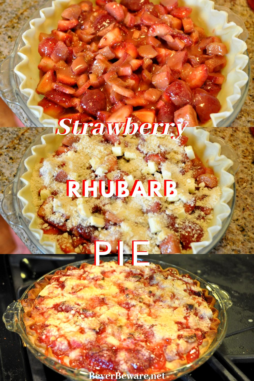 Strawberry Rhubarb Pie with a crumble topping is a simple pie recipe made with a store bought pie crust and all the flavors of spring. Perfect for Easter or mother's day celebrations. #MothersDay #Pie #Strawberry #Rhubarb
