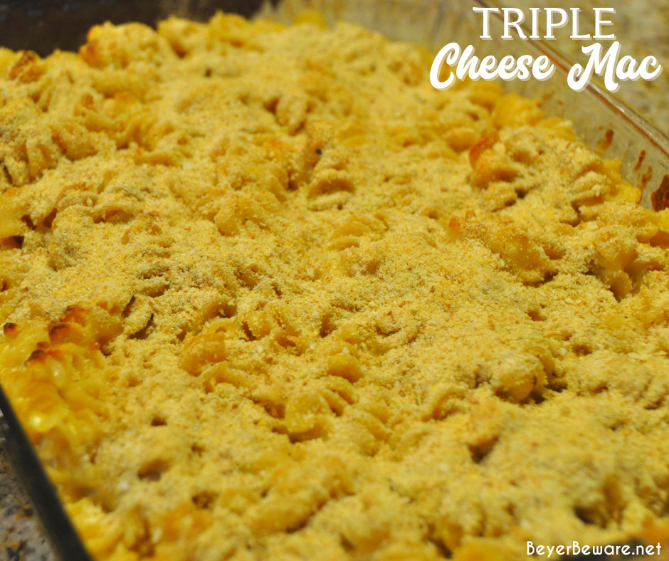 Triple cheese mac is a baked mac and cheese recipe made with three kinds of cheese - cheddar, American, and Parmesan - then topped with breadcrumbs and baked to a bubbly 3-cheese mac and cheese.