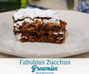 Fabulous zucchini brownies are a simple homemade brownie recipe made with shredded zucchini that is also egg-free to create a fudgy brownie treat with fresh zucchini.