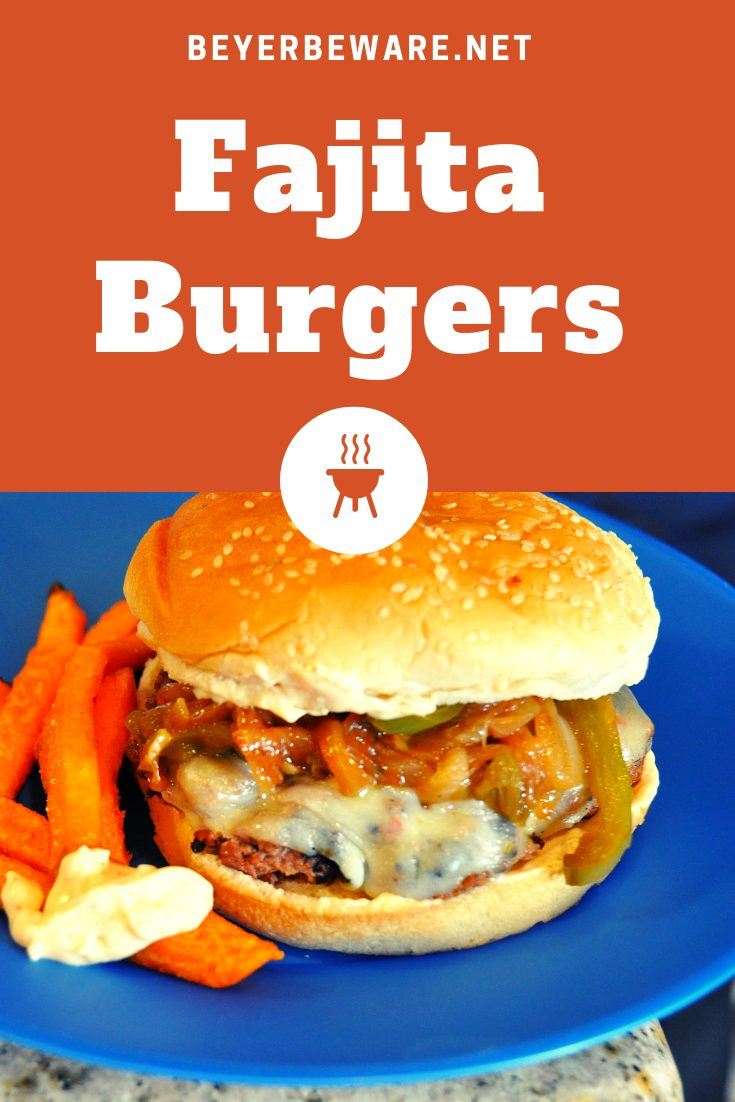 Fajita Burgers are perfect for Mexican food lovers made by mixing fajita seasoning into ground beef patties and topping with cheese, onions and peppers. #burgers #Tacos #MexicanFood #Grilling #Beef