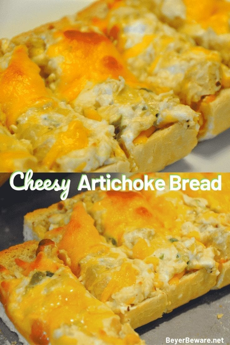 Cheesy Artichoke Bread is a simple appetizer combining artichoke hearts with lots of cheese, garlic, and onions on Italian bread for perfect finger food for any party. #Appetizers #Artichokes #Cheese #CheesyBread