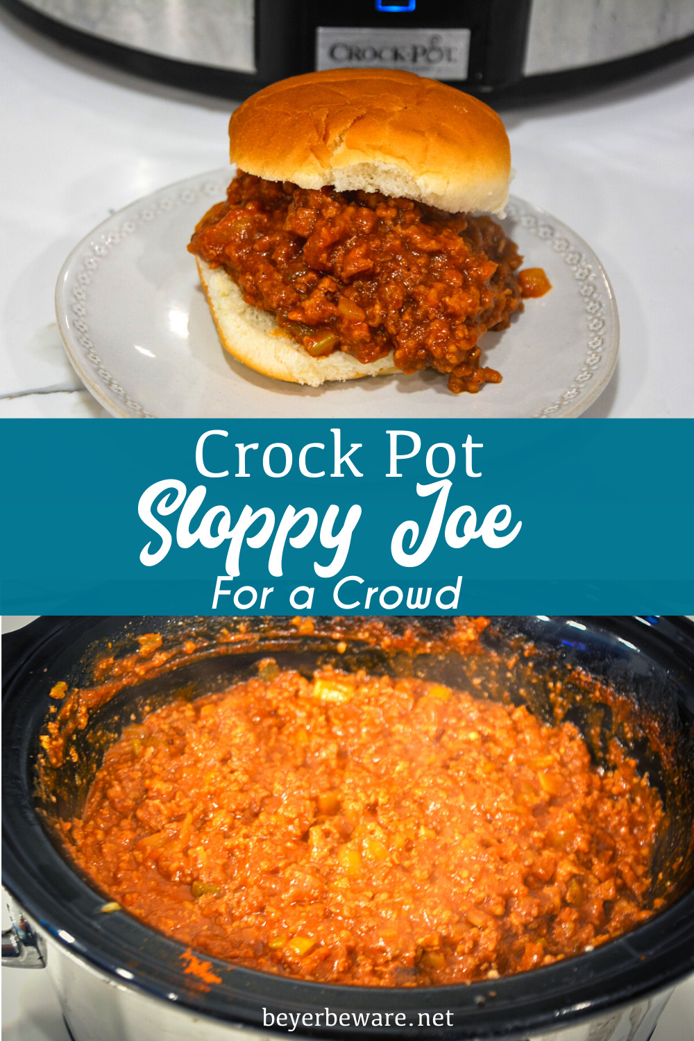 Crock pot sloppy joes for a crowd is a large batch of sloppy joes recipe when you are looking for a recipe to feed a bunch of hungry people.