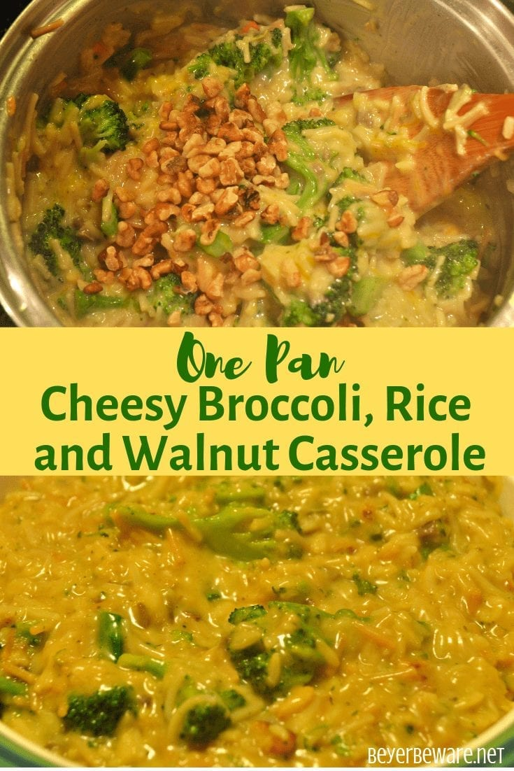 One pan cheesy broccoli, rice, and walnut casserole combines a boxed rice pilaf mix with steamed broccoli, cheese and creamed soup for an easy, fancied up side dish. #sidedish #Ricepilaf #Broccoli #cheese