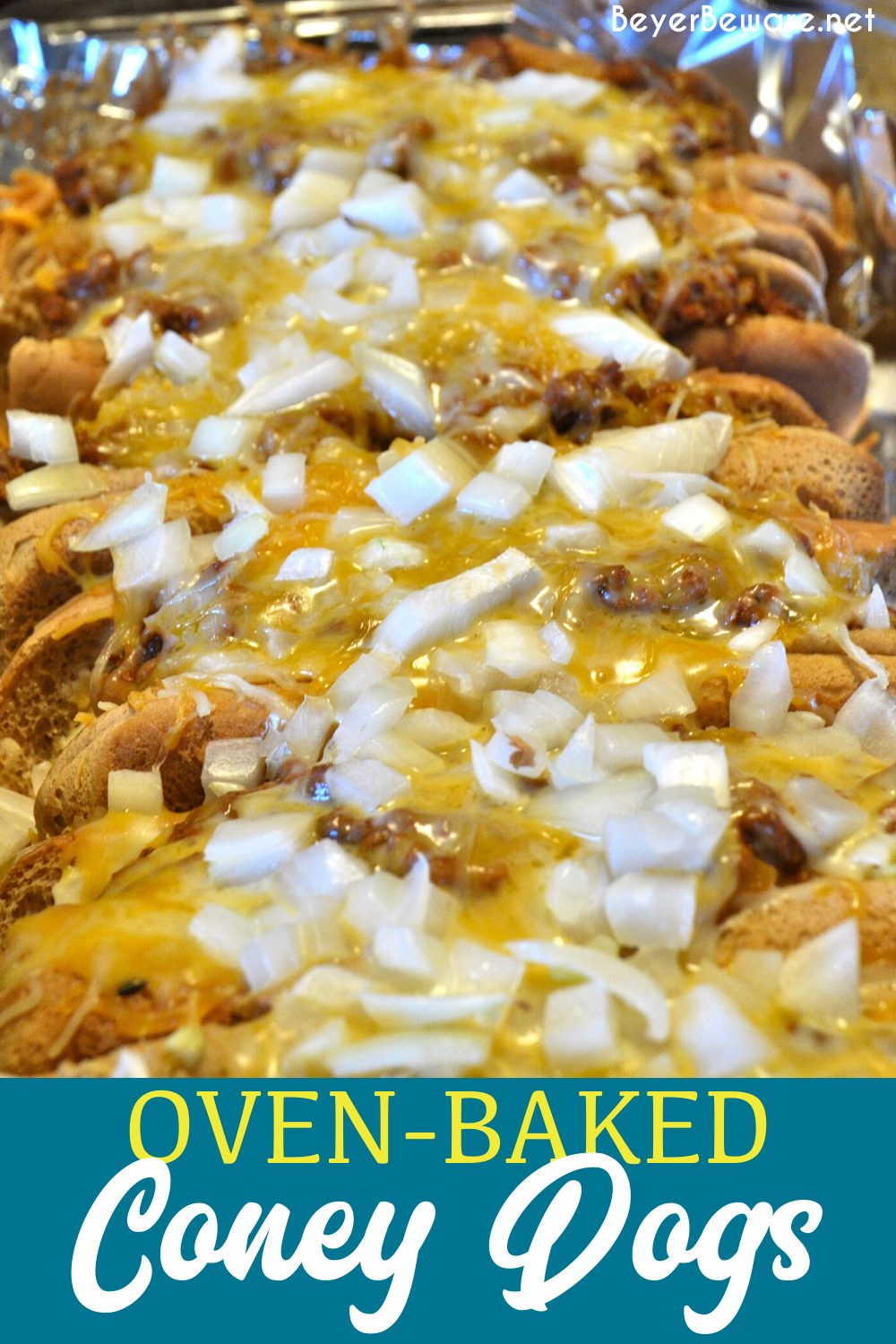 Oven-baked Coney dogs are the best way to use up leftover sloppy joes or chili. Grab some buns, hot dogs, chili, cheese, and onions for amazing coney dogs.