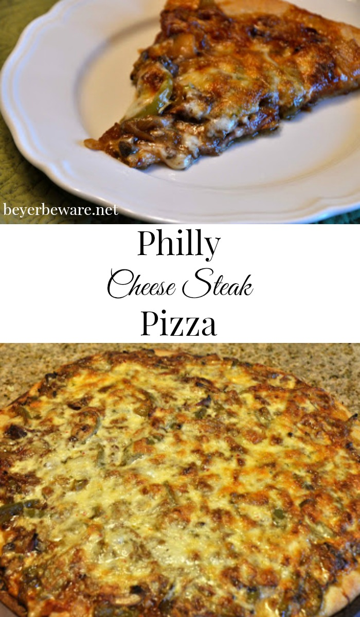 The Philly Cheese Steak Pizza recipe is as good as the sandwich, only you can eat it by the slice.