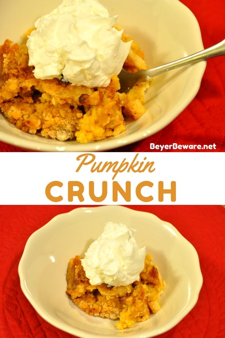 This pumpkin crunch, aka pumpkin dump cake, is an easy recipe that takes 5 minutes to make. Every pumpkin lover will beg you for the recipe.