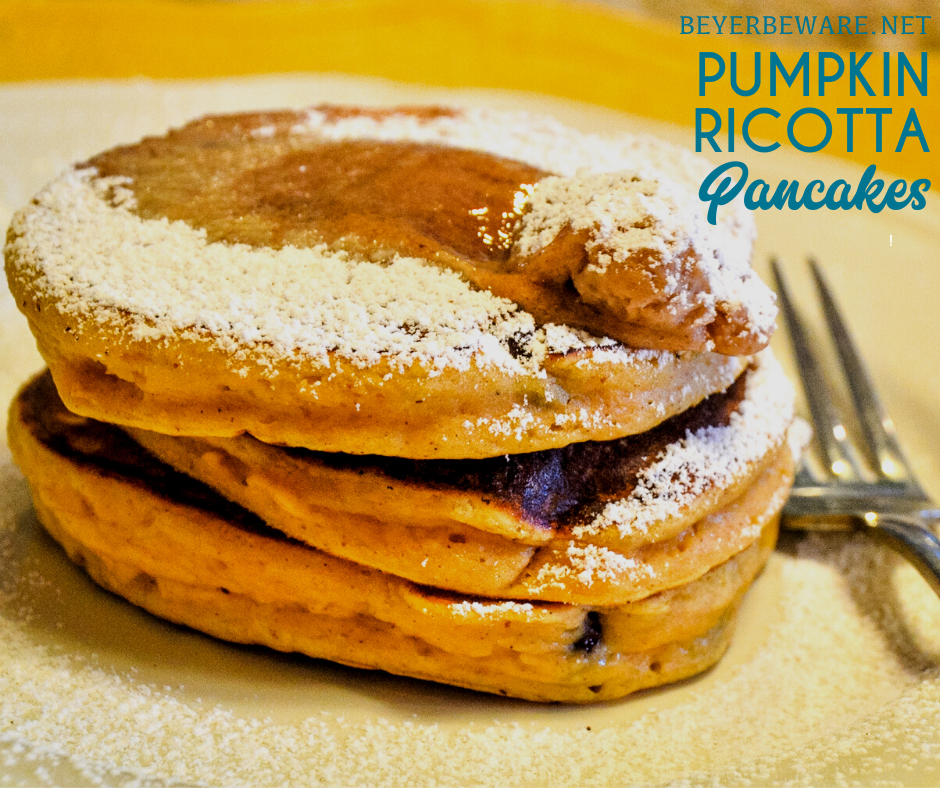 Pumpkin ricotta pancakes are a fluffy, pancake with all the fall flavors with both real pumpkin and ricotta in the batter with lots of fall spices. Add chocolate chips to make them even more decadent.
