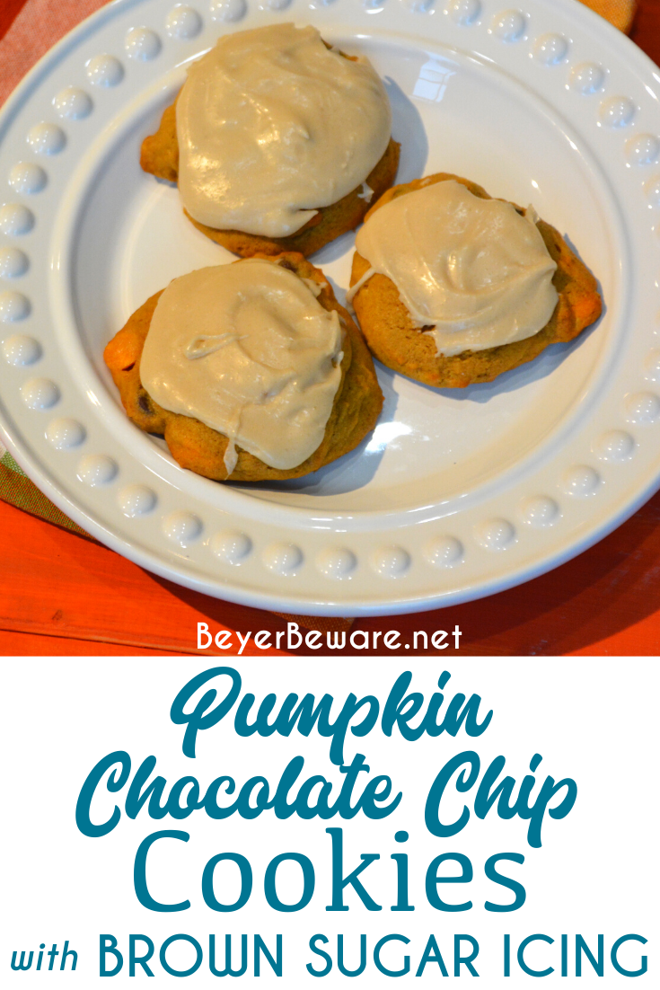 Pumpkin chocolate chip cookies are a made from scratch chocolate chip cookie with real pumpkin in the cookie dough and then topped with brown sugar icing on top!
