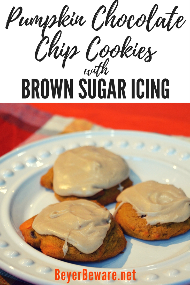 This pumpkin chocolate chip cookies with brown sugar icing recipe take an All-American favorite up a notch with real pumpkin and rich brown sugar frosting.