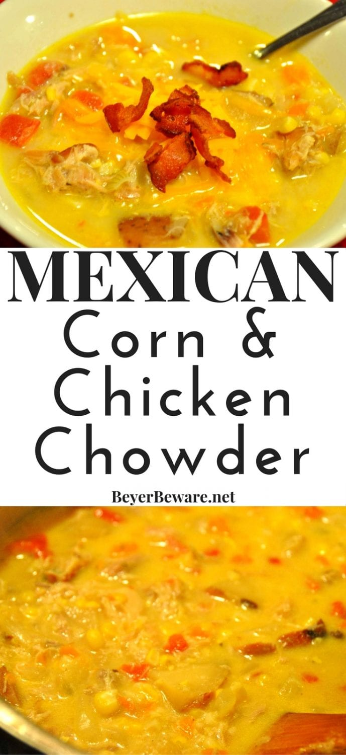 Mexican corn and chicken chowder is a twist to the normal corn chowder that any tortilla soup fan is sure to love.