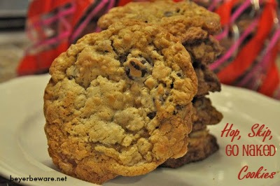 Like the drink, these hop, skip and go naked cookies have booze in them in and are a chewy cookie filled with chocolate chips and oatmeal.