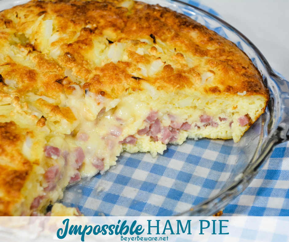 Impossible ham and swiss pie is a simple recipe to make with leftover ham and biscuit mix for an easy weeknight dinner.
