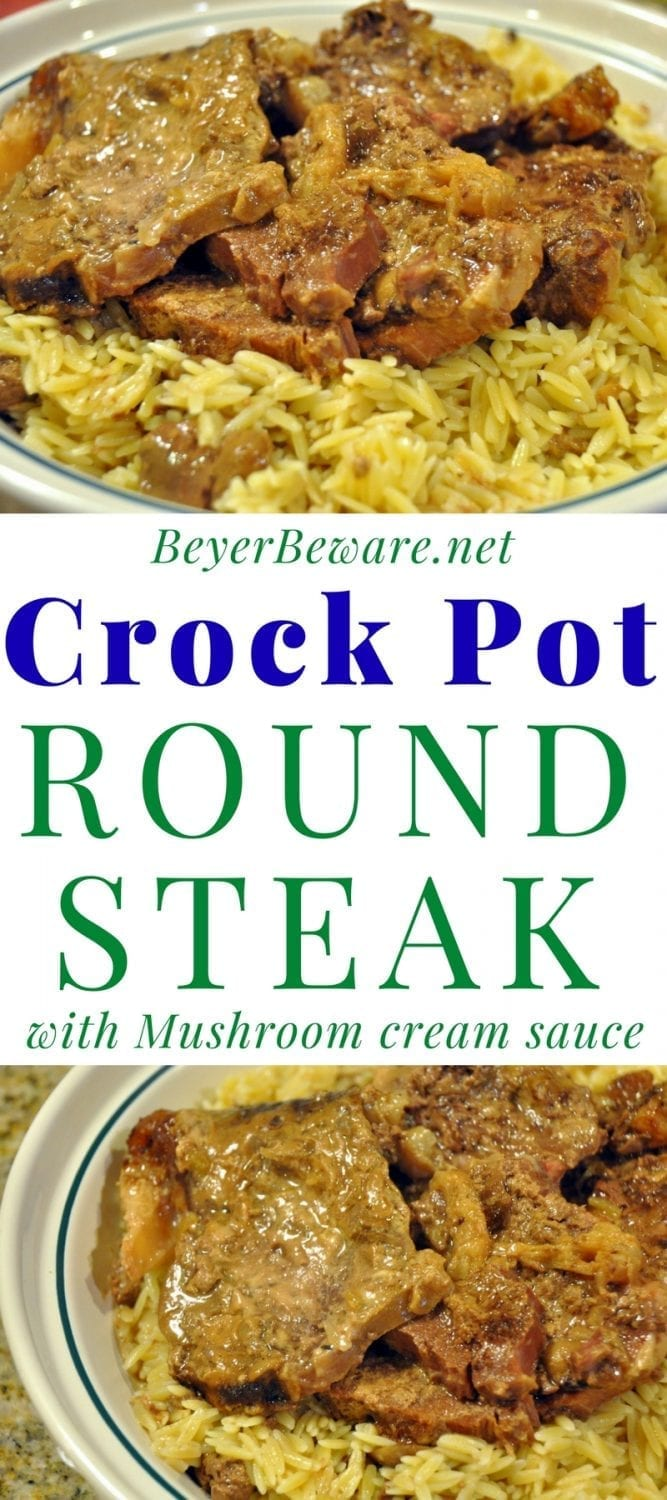 Crock Pot Round Steak in a mushroom cream sauce was a tender beef dish that was perfect served with pasta.