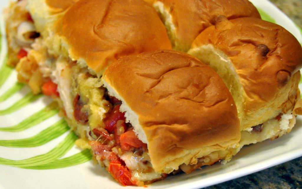 hunk of meat monday mini chicken sandwich on hawaiian sweet rolls beyer beware