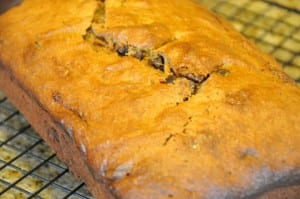 chocolate chip banana bread on rack