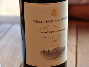A bottle of Celani Family Winery Tenacious