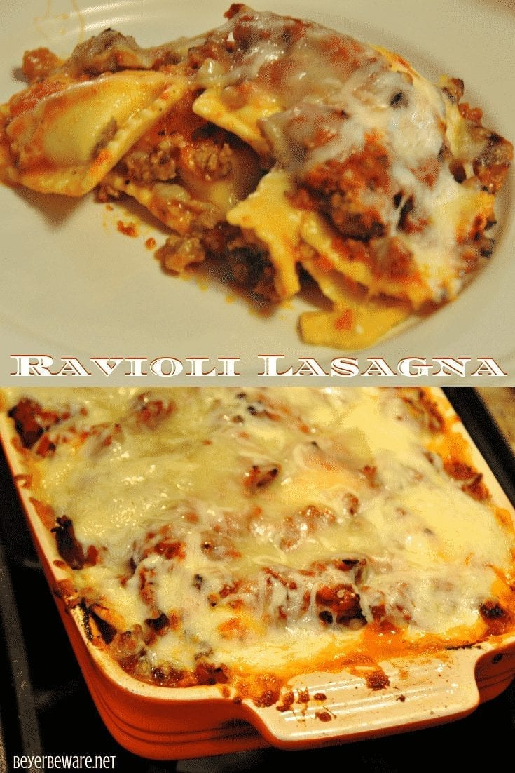 Ravioli Lasagna is a quick 5-ingredient casserole that combines cheese ravioli, beef, cheese and tomato sauce for a filling weeknight meal dinner. #Weeknightdinner #Lasagna #Ravioli #EasyRecipes