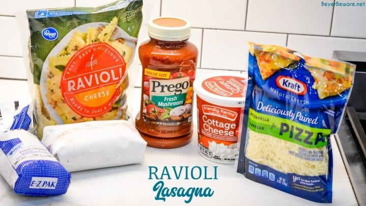 Ravioli Lasagna is a 5-ingredient recipe that combines cheese ravioli, ground beef, cheese and spaghetti sauce for an easy weeknight dinner.