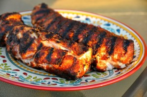grilled pork loins resting