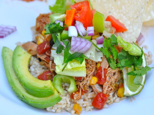 Hunk of Meat Monday: Crock Pot Chicken Taco Bowls