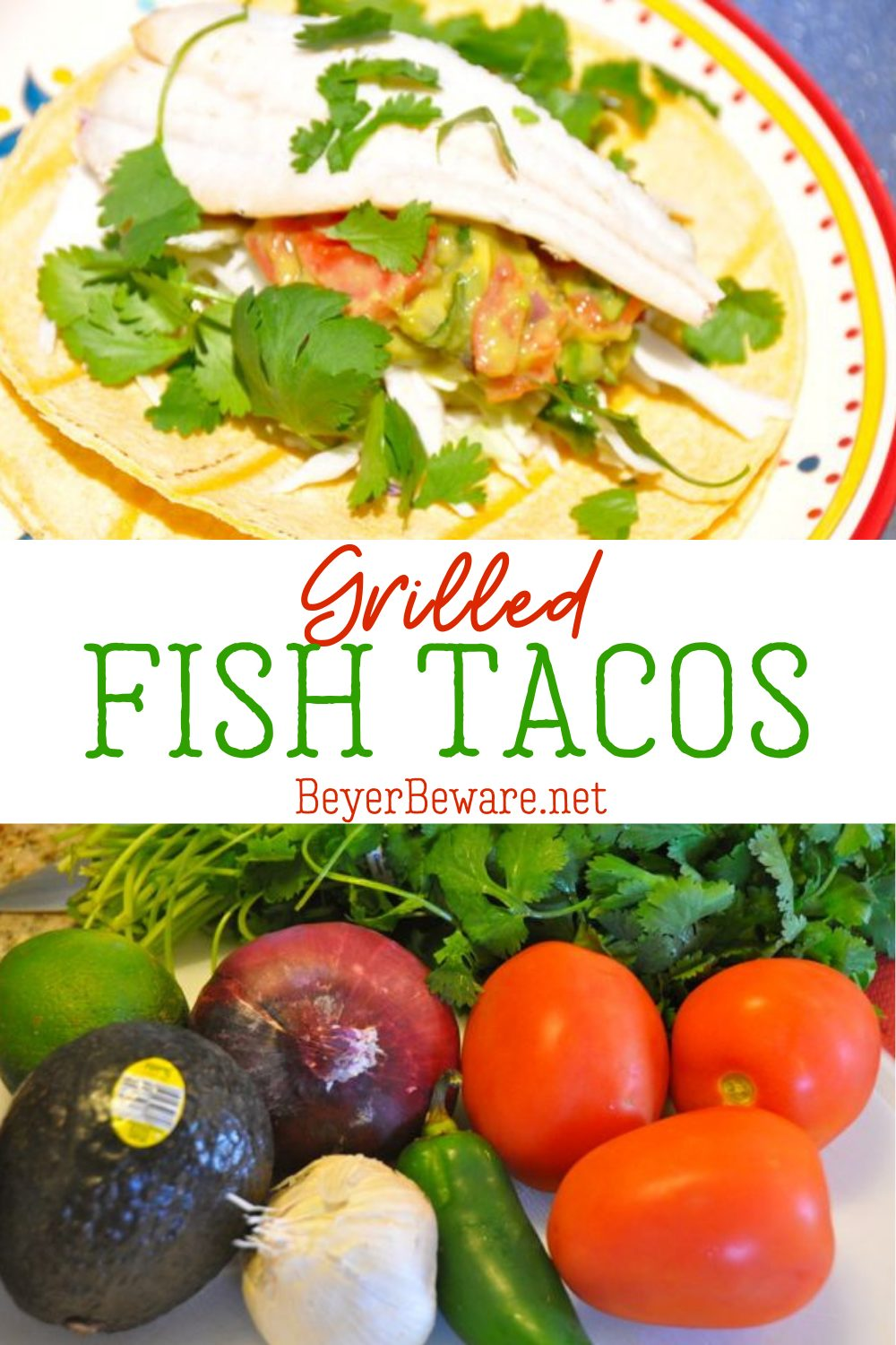 Grilled fish tacos with guacamole is a simple grilled fish recipe that is full of all the summer flavors for a refreshing fish taco with homemade guacamole.