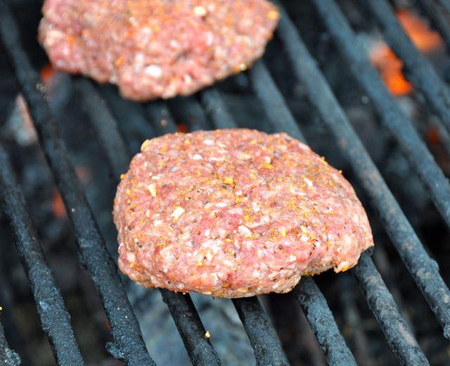 grilling beef hamburgers