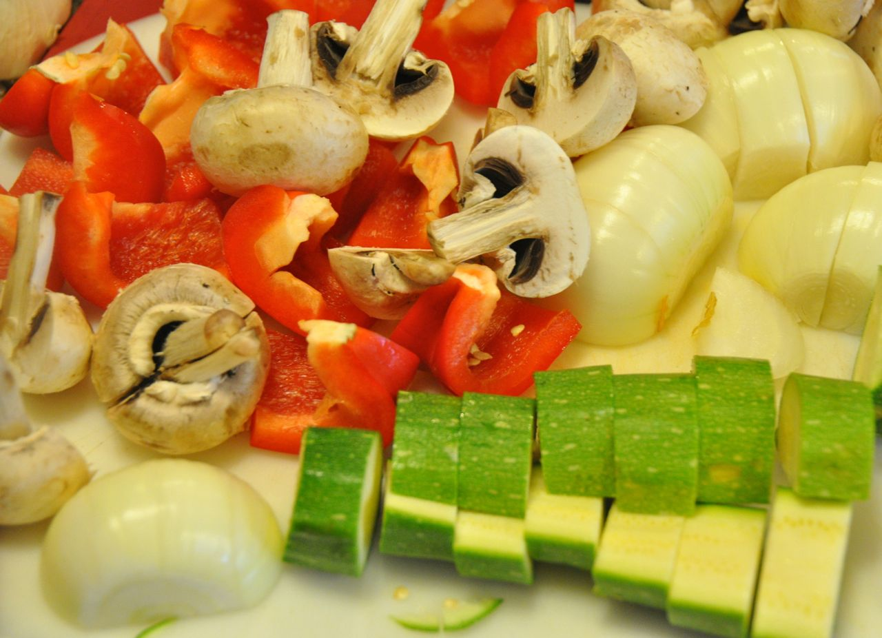 vegetables cut up for kabobs