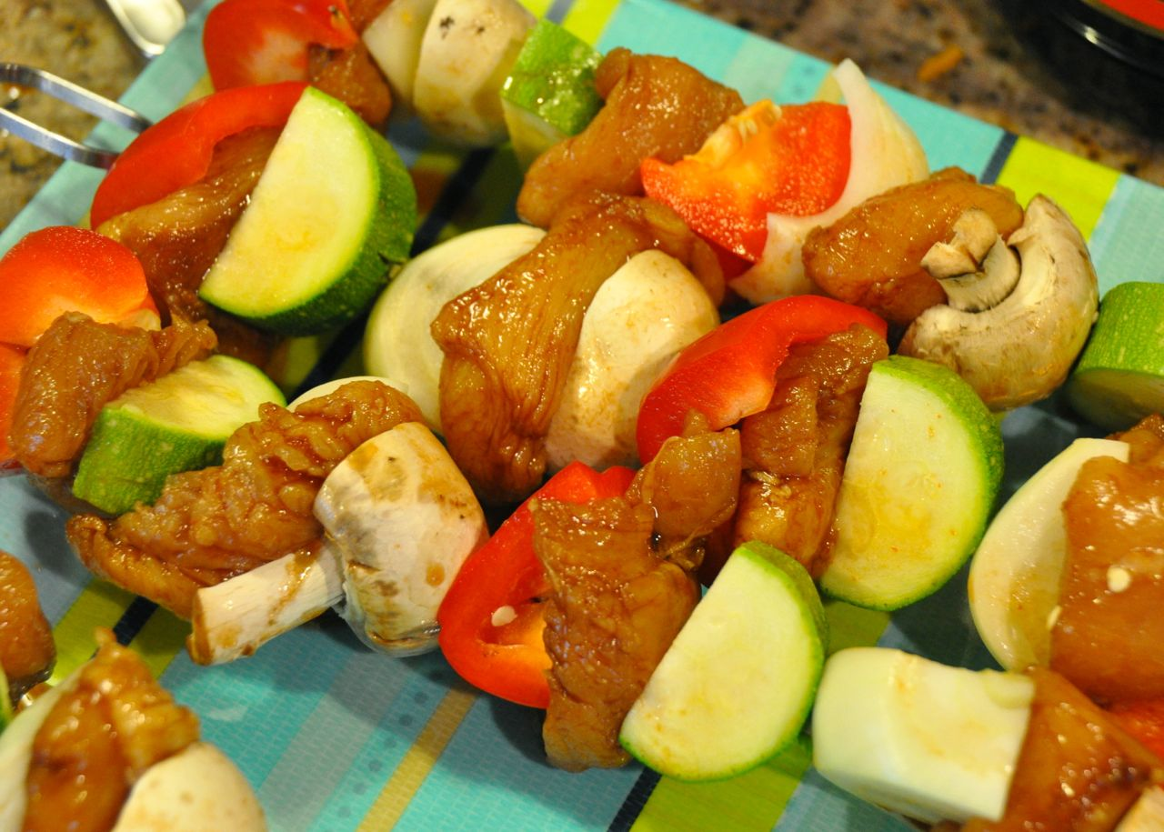 skewered chicken kabobs with vegetables